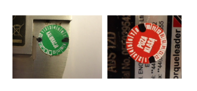 etykiety kalibracyjne przyrządy pomiarowe
